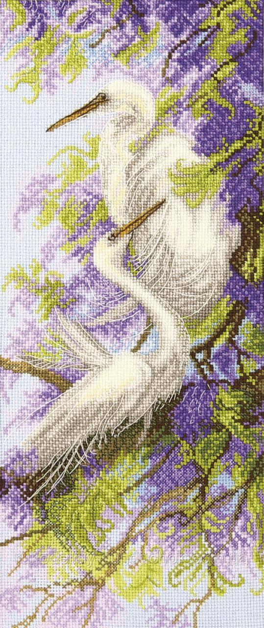 """Набір для вишивки хрестиком Чарівна Мить М-349 """"Чаплі і гліцинія"""""""