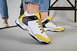 Кроссовки женские кожаные белые с черными и желтыми вставками, фото 4