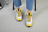 Кроссовки женские кожаные белые с черными и желтыми вставками, фото 5