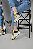 Кроссовки женские кожаные белые с черными и желтыми вставками, фото 6