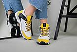 Кроссовки женские кожаные белые с черными и желтыми вставками, фото 7