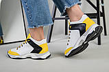 Кроссовки женские кожаные белые с черными и желтыми вставками, фото 8