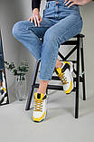 Кроссовки женские кожаные белые с черными и желтыми вставками, фото 10