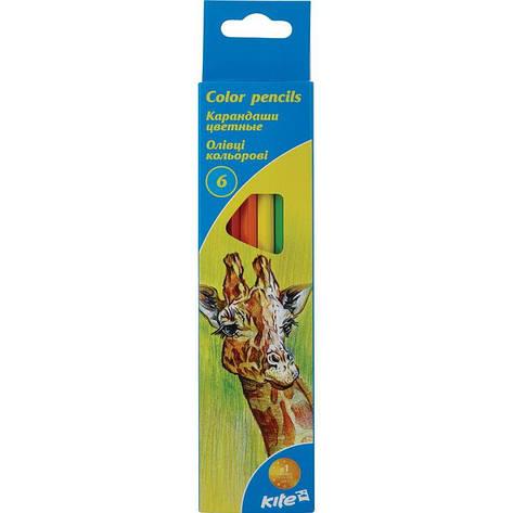 """Олівці кольорові, 6 шт. Kite """"Тварини"""", фото 2"""