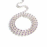 Стразовая цепь Preciosa (Чехия) ss12 Violet/серебро