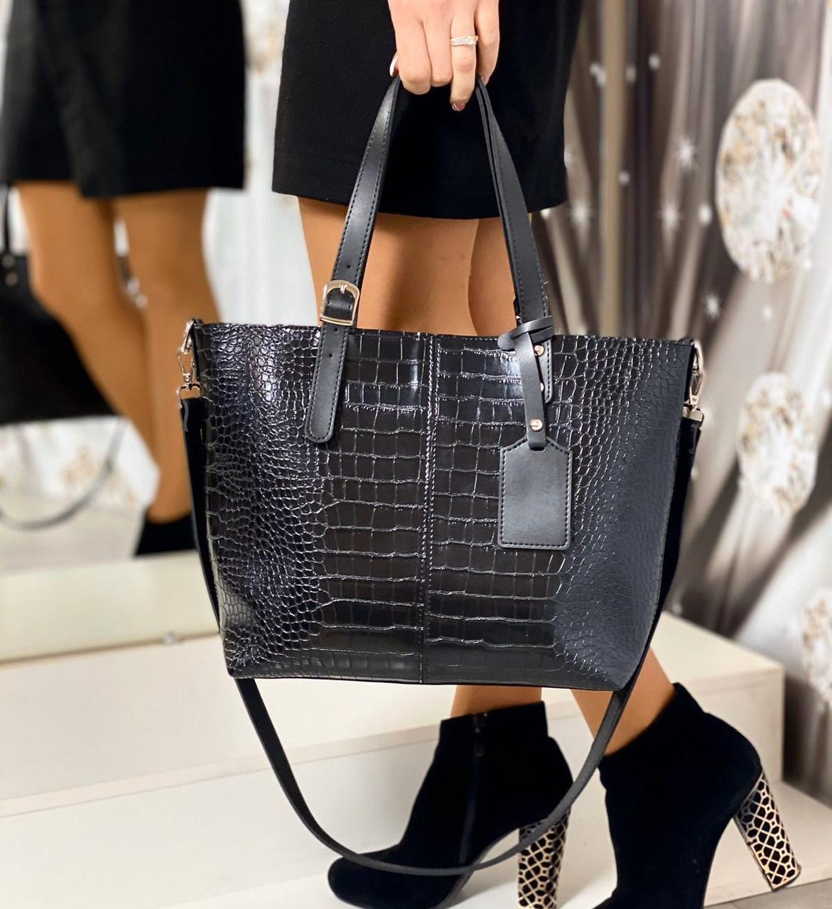 Большая черная женская сумка под рептилию шоппер городская на плечо модная брендовая экокожа
