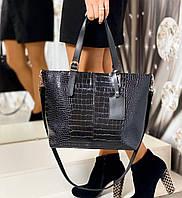Большая черная женская сумка под рептилию шоппер городская на плечо модная брендовая экокожа, фото 1