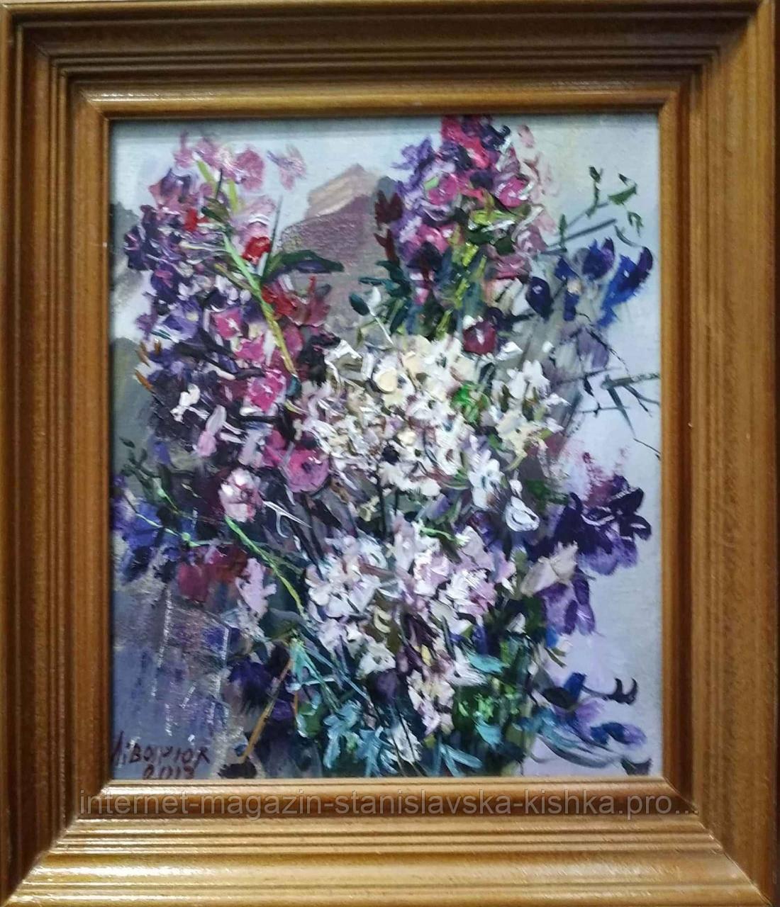 Картина  КВІТИ БУКЕТ натюрморт полотно, олія 28 * 24 в рамі (дерево)