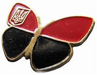 Значок метелик червоно-чорний