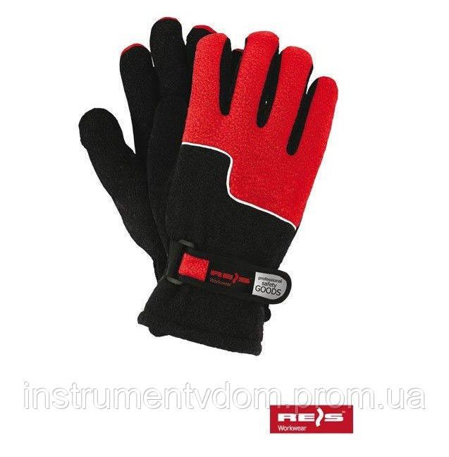 Перчатки черно-красные флисовые REIS, Польша (упаковка 12 пар)