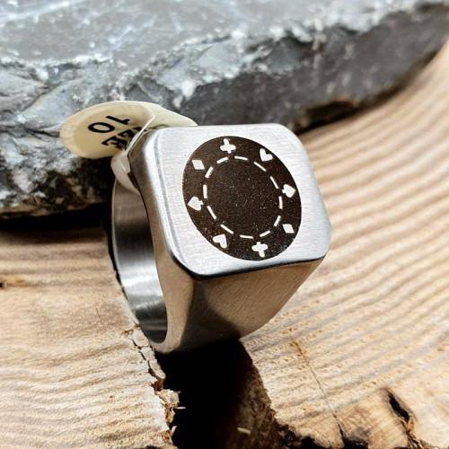Перстень-печатка із сталі чоловіча Класика матове 176188