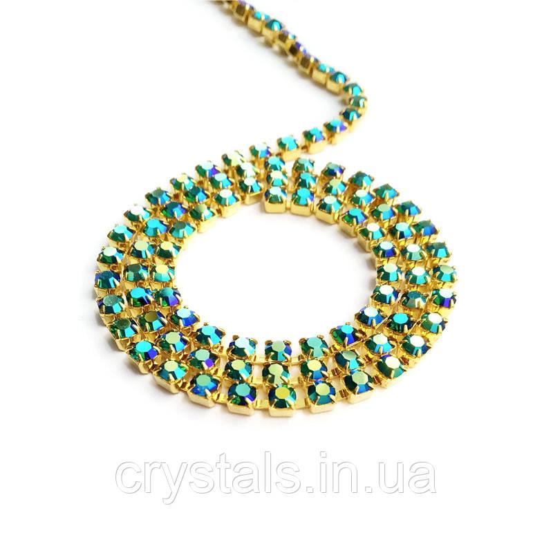 Стразовая цепь Preciosa (Чехия) ss14.5 Emerald AB/золото
