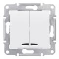 Выключатель двухклавишный с подсветкой, Sedna белый, SDN0300321