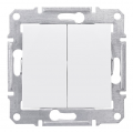 Выключатель двухклавишный, Sedna белый, SDN0300121