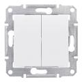 Переключатель двухклавишный (проходной), Sedna белый, SDN0600121