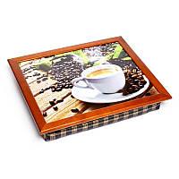 Поднос подушка BST 710078 44*36 коричневый кофе, доски, листья, фото 1