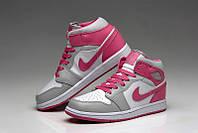 Женские баскетбольные кроссовки Nike Air Jordan 1 pink-grey