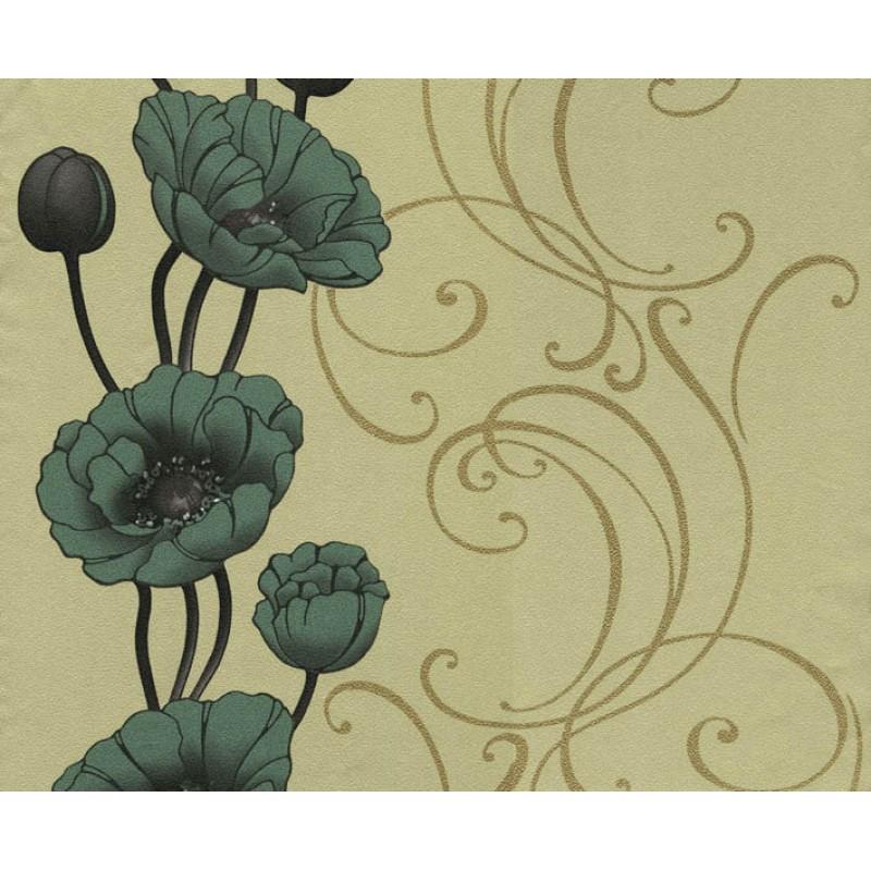 Бумажные обои Ексклюзив 049-06 маки оливковые 0.53м*10.05м