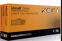 Супер прочные черные нитриловые перчатки Ideall GRIP + L (8-9) Mercator Medical (50шт), фото 1