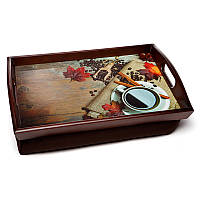 Поднос подушка с ручками BST 710048 48*33 коричневый  Кофе с корицей, фото 1