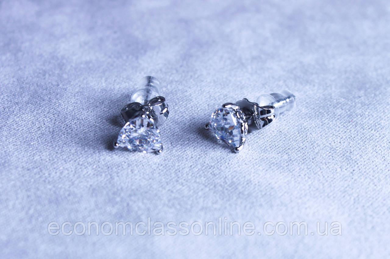 Серьги фирмы Xuping с родиевым покрытием и камнями цирконий (Rhodium color 13)
