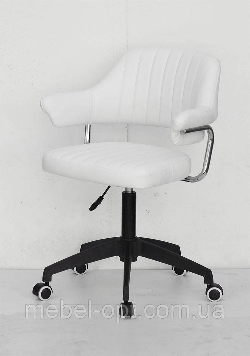 Кресло Jeff BK Modern Office с подлокотниками, белый кожзам на черной базе-крестовине c колесиками