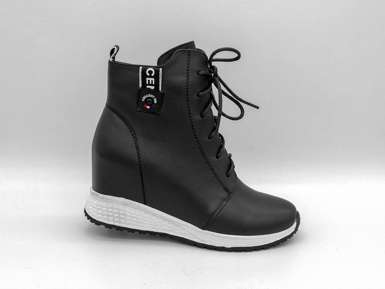 Чорні шкіряні черевики на прихованій танкетці. Erisses. Ботильйони. Маленькі розміри (33 - 35).