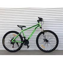 Спортивный двухколесный велосипед TopRider 680,салатовый 26 дюймов, алюминиевый (ORIGINAL SHIMANO)