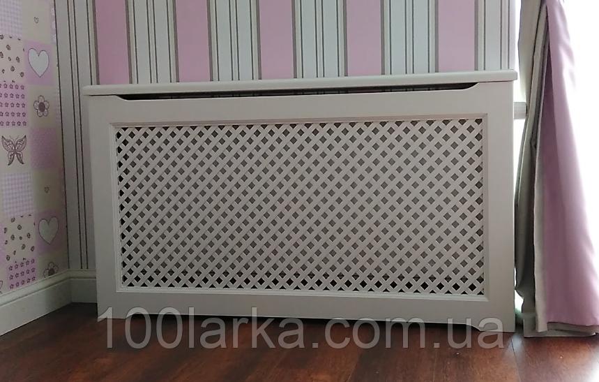 Решетки для батарей отопления из дерева Экран (короб) декоративный PP01-K60 Белый.