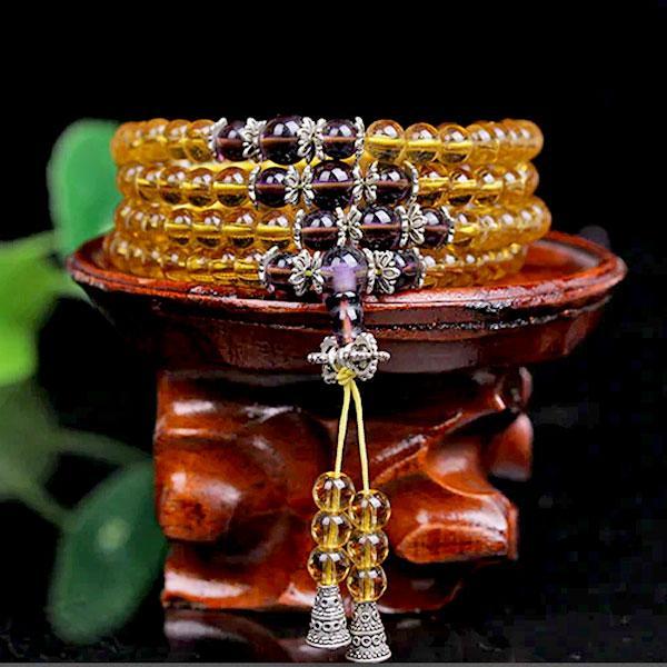 Четки - браслет из желтого стекла