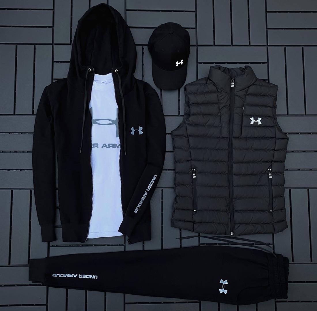 Ander Armour мужской черный спортивный костюм осень-весна!Комплектом дешевле!