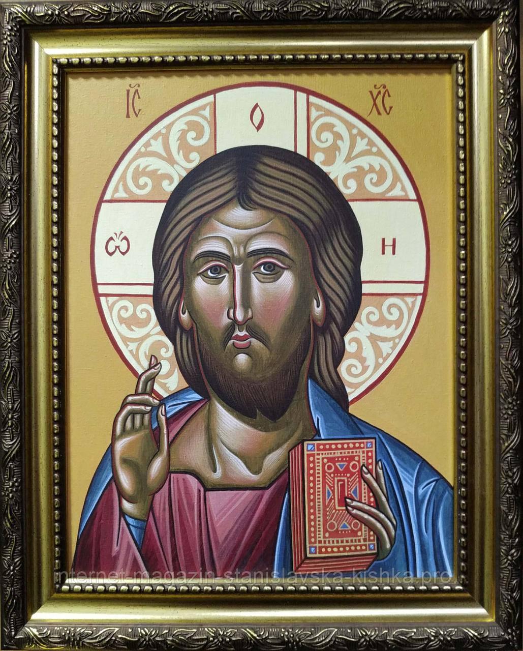 Живопис ІКОНА ХРИСТА ПАНТОКРАТОРА полотно акрил 30*24 в рамі