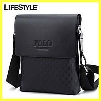 Мужская сумка через плечо Videng Polo 25*21*7 Черная (Клетка)