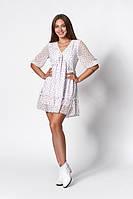 Женственное шифоновое платье белого цвета с мелким цветочным принтом. Модель 1271. Размеры 44-50, фото 1