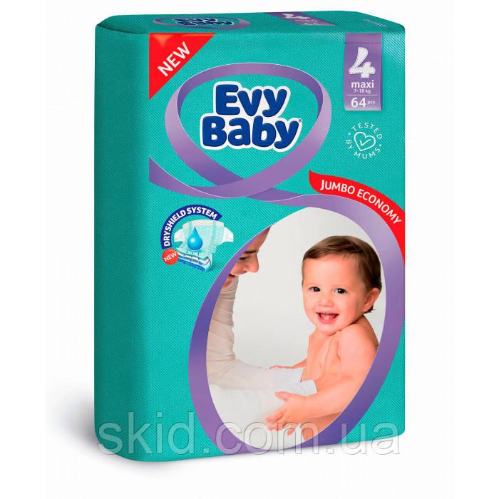 Evy baby подгузники детские Elastic2(3-6 кг.80 шт,мини);3 (5-9 кг,68 шт.,миди);4(7-18 кг 64 шт. макси); юниор