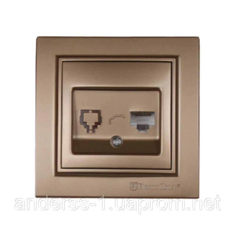 ElectroHouse Розетка комп'ютерна Розкішно золотий Enzo 1x8P8C IP22