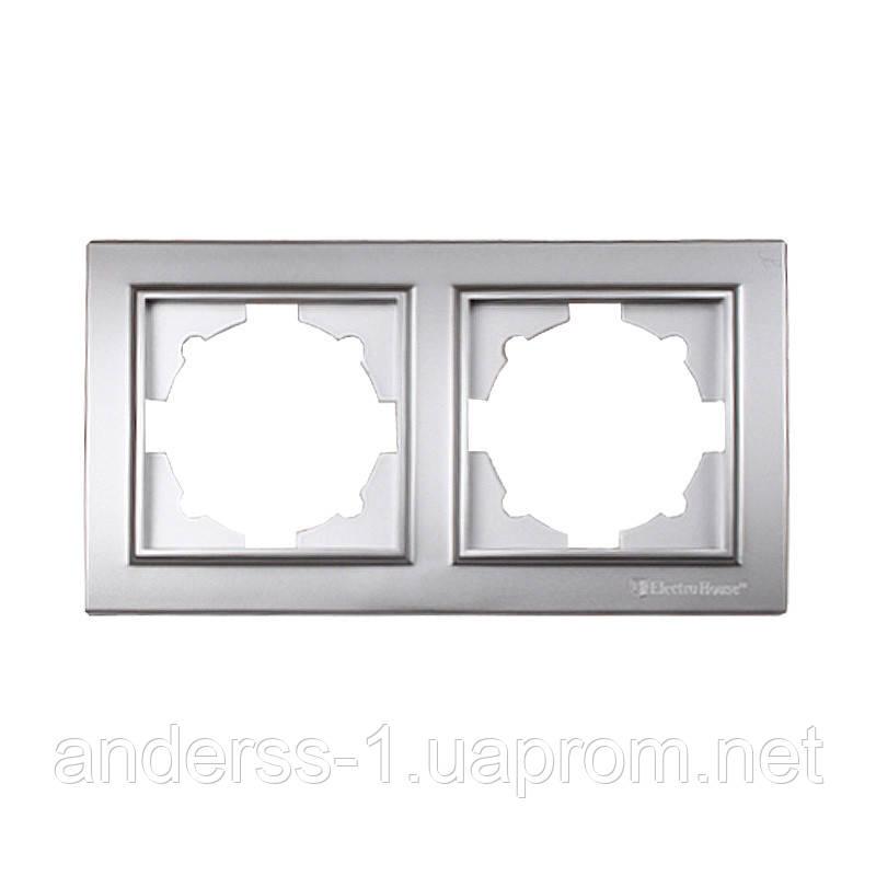 ElectroHouse Рамка подвійна срібло Enzo