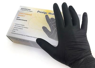 """Перчатки нитриловые """"Prestige Medical"""" Black XS"""