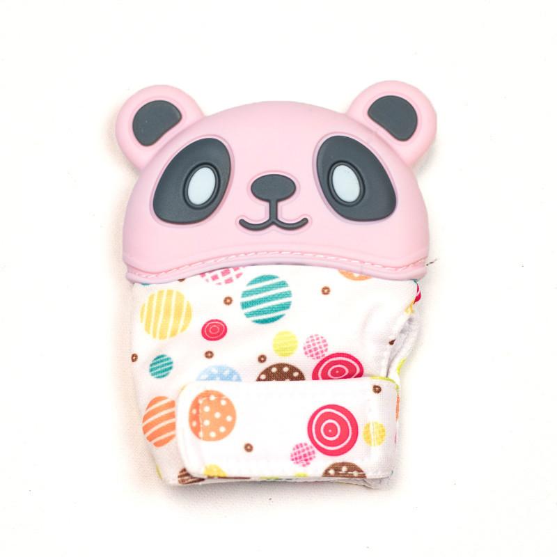 Варежка-грызунок SLINGOPARK «Панда» (розовый с горошком)
