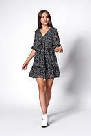 Женственное шифоновое платье черного цвета с мелким цветочным принтом. Модель 1271. Размеры 44-50, фото 1