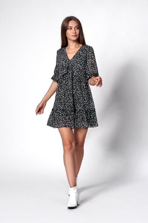 Женственное шифоновое платье черного цвета с мелким цветочным принтом. Модель 1271. Размеры 44-50