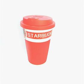 Термокружка Starbucks 350 мл керамическая с резиновым чехлом Красная 9703
