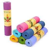 Коврик для фитнеса и йоги TPE+TC 6мм SP-Planeta FI-4937, цвета в ассортименте