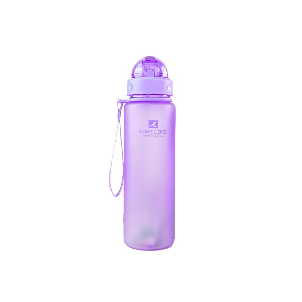 Пляшка для води CASNO 400 мл MX-5028 More Love Фіолетова з соломинкою