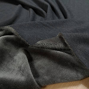Темно-серый трикотаж на бежевом меху