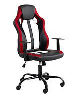 Кресло компьютерное на фрикционных колесиках (эко кожа) черно красное
