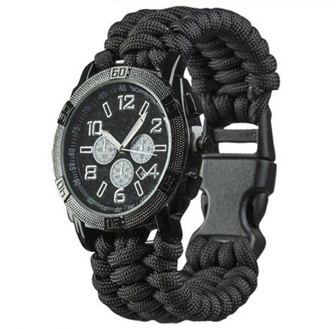 Часы водонепроницаемые армейские MIL-TEC ARMY UHR PARACORD Black (15774002-905) XL
