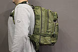 Тактический (городской) рюкзак Oxford 600D с системой M.O.L.L.E olive (ta25), фото 9