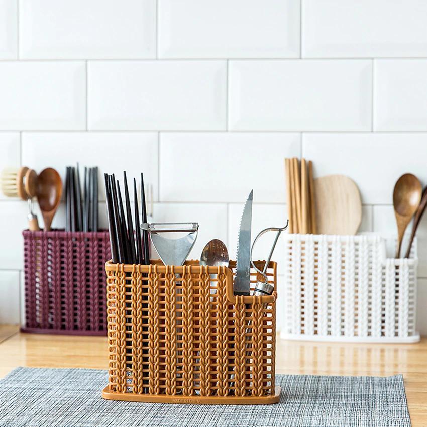 Плетеный органайзер для столовых приборов (коричневый)