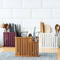 Плетеный органайзер для столовых приборов (коричневый), фото 1